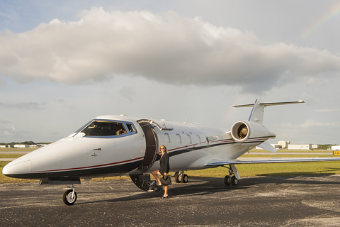 Lear 60XR exterior with passenger